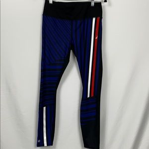 Athleta black leggings with red/white/blue Sm.